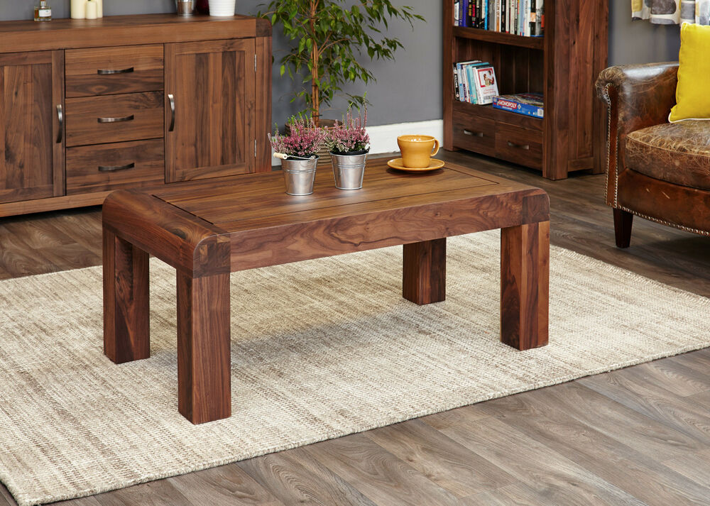 Solid chunky wood walnut large coffee table ebay for Large chunky coffee table