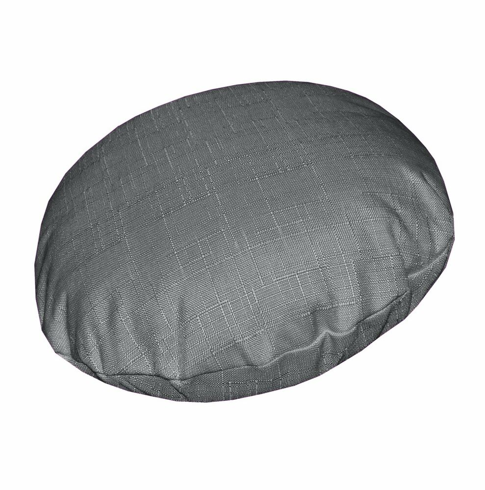 Qh12n Grey Thick Cotton Blend Round Cushion Cover Pillow