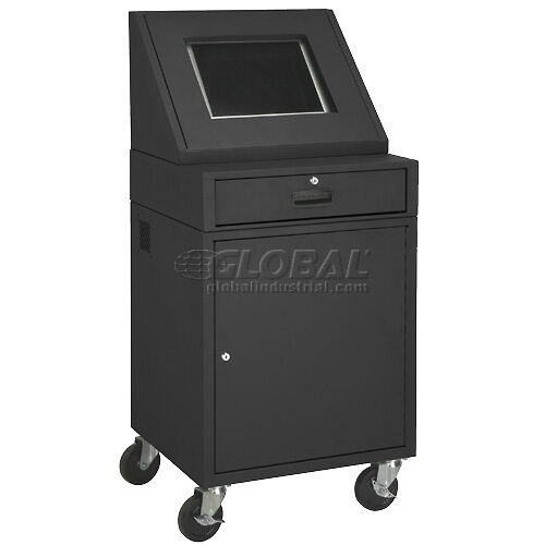 Lcd mobile console computer cabinet black ebay for Console mobile