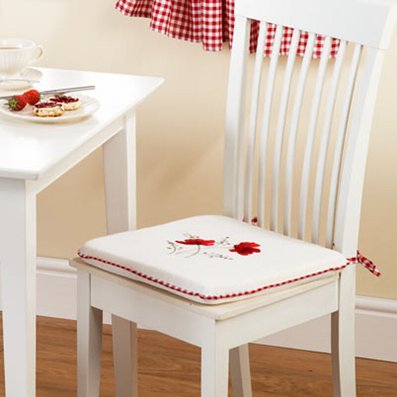 Poppy Gingham Red 16x16 Seat Pad To Match Kitchen Curtains Ebay