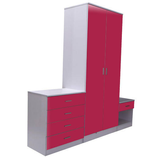 Pink white gloss bedroom furniture 3 piece trio set for White gloss bedroom furniture