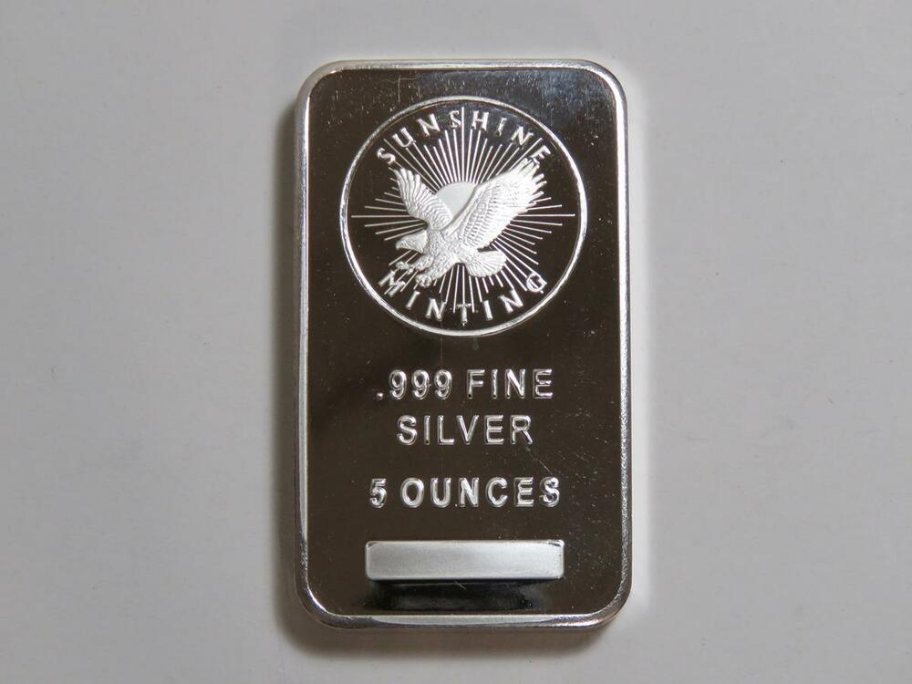 Five Troy Ounce 999 Silver Bar Sunshine Minting Smi 5 Oz
