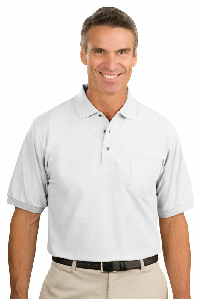 Port authority tall men 39 s new 5oz silk touch pocket golf for Big and tall polo shirts with pockets