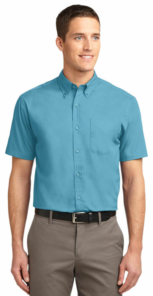 Port authority men 39 s big tall button down short sleeve for Dress shirts for tall men