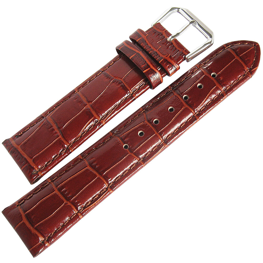19mm debeer mens havana brown crocodile grain leather watch band strap ebay for Leather strap watches