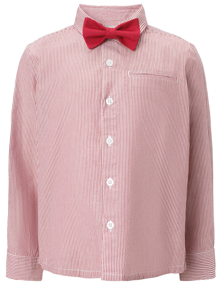 Boys 2 Peice Set Red Striped Shirt Red Bow Tie Monsoon