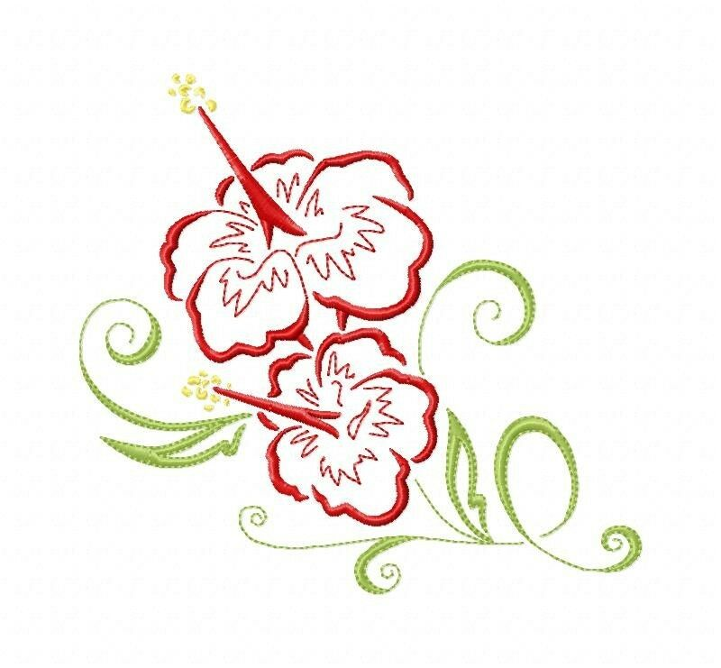 Art deco hawaiian flowers machine embroidery designs on