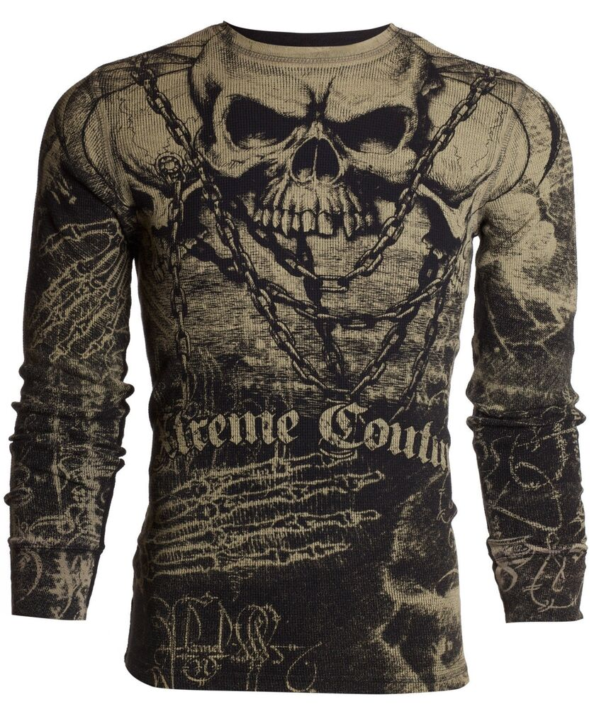 Xtreme couture affliction men thermal t shirt killer for Men s dobby shirt