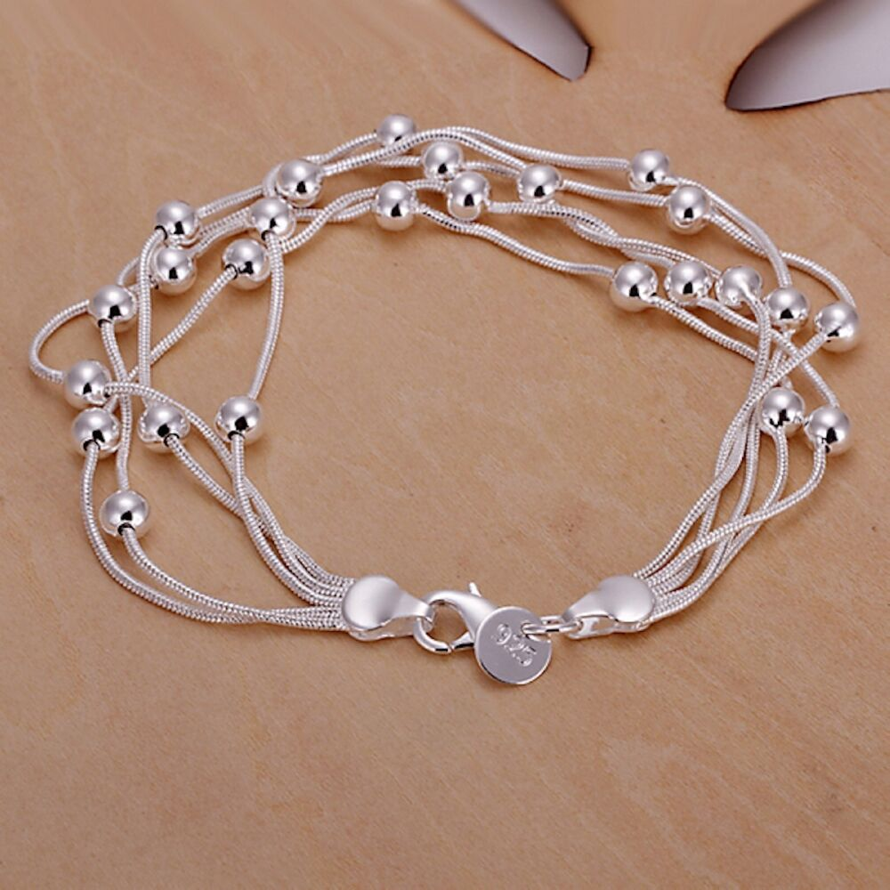 Women 39 s unisex 925 sterling silver bracelet 8 l21 ebay for The sterling