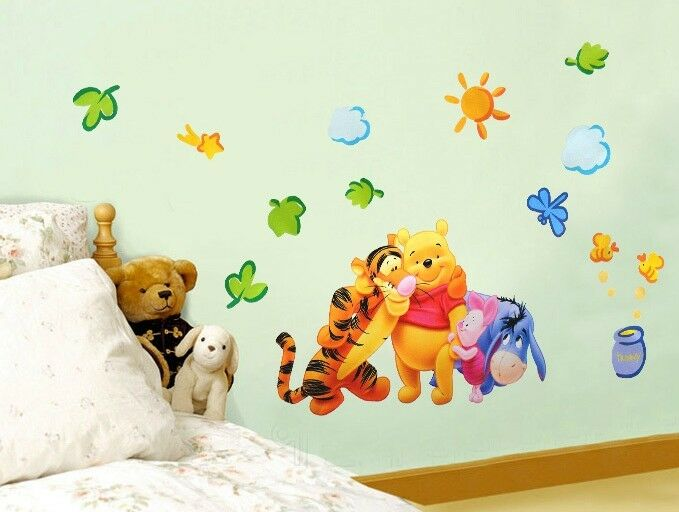 Cartoon animal partner wall stickers children room decor for Baby mural wallpaper