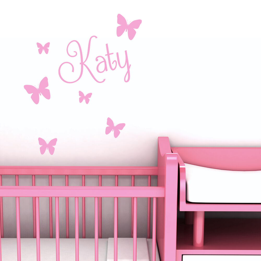 Personalised Name Butterfly Wall Art Custom Girls Bedroom