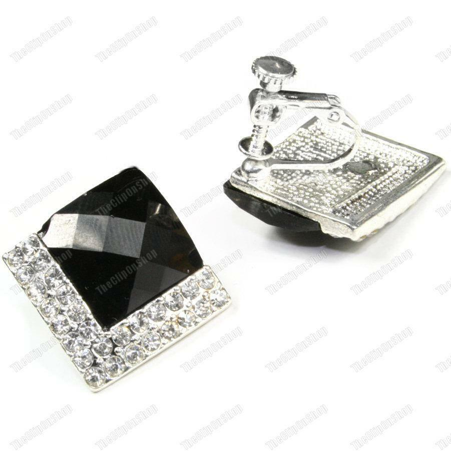 clip on screw art deco crystal 2cm big square earrings black silver rhinestone ebay. Black Bedroom Furniture Sets. Home Design Ideas