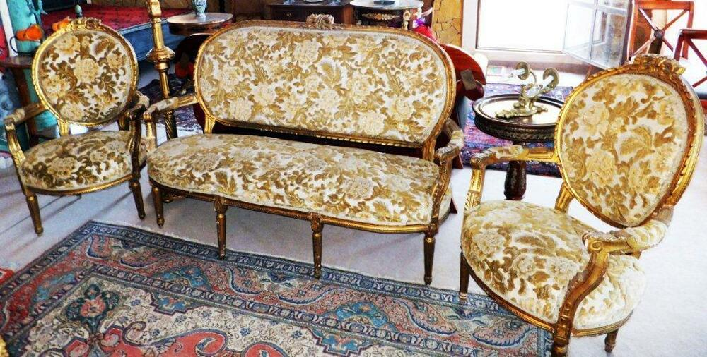 gold sofa garnitur set couch sessel thron barock rokoko louis seize xv xvi baroq ebay. Black Bedroom Furniture Sets. Home Design Ideas