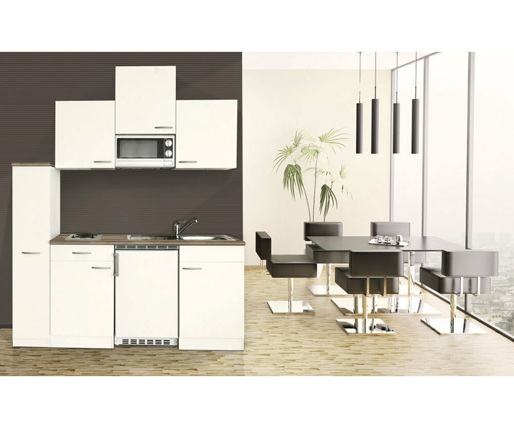 respekta einbau single mini k che k chenblock weiss 180 cm mikrowelle ceran ebay. Black Bedroom Furniture Sets. Home Design Ideas