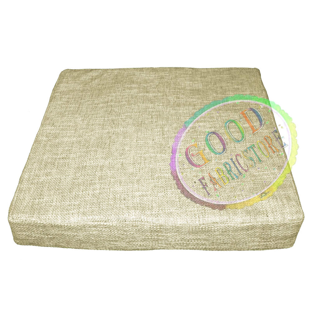 Nk40t thick linen pale brown beige 3d box sofa seat for Sofa cushion covers ebay