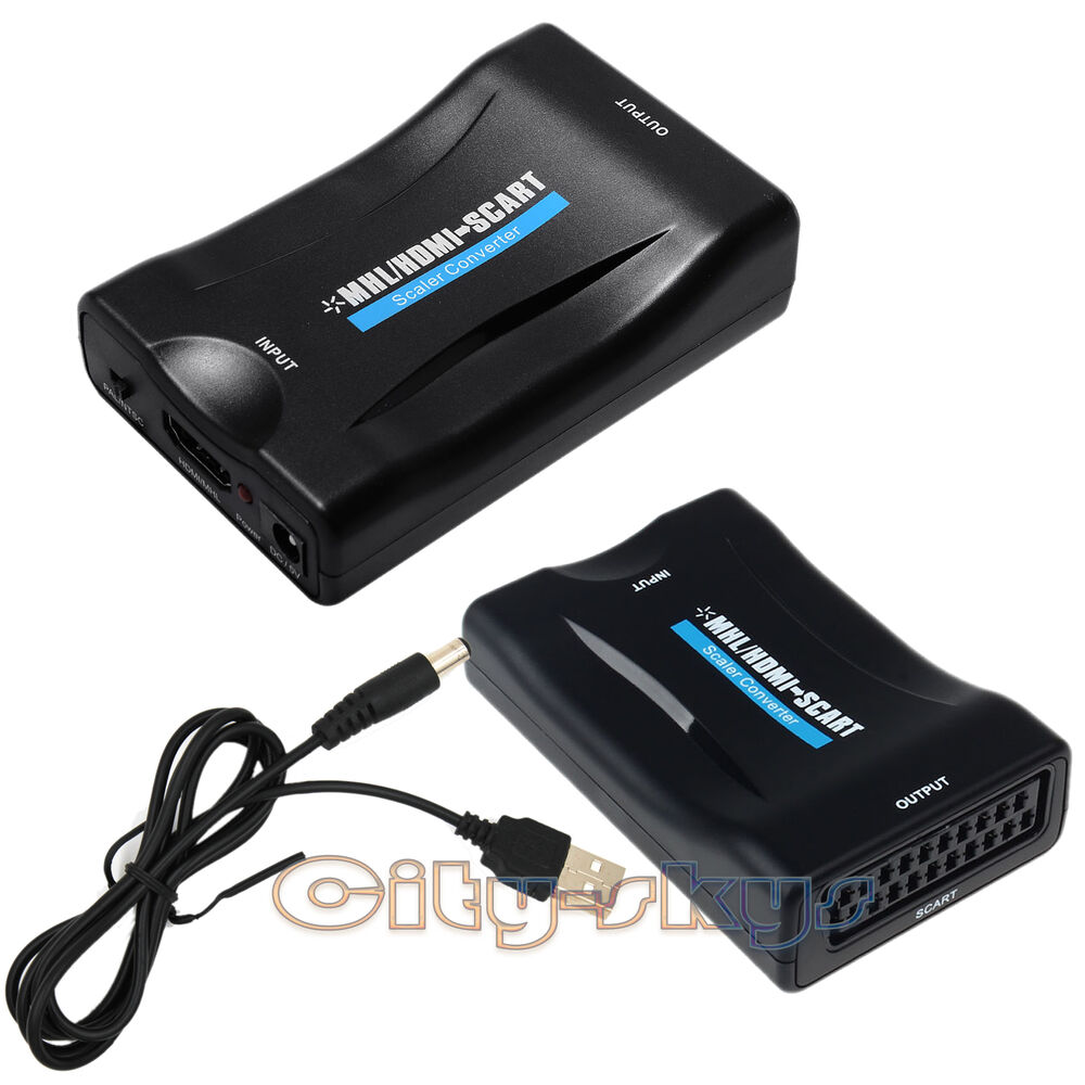 mhl hdmi to scart composite video scaler converter audio adapter for dvd sky ps3 ebay. Black Bedroom Furniture Sets. Home Design Ideas