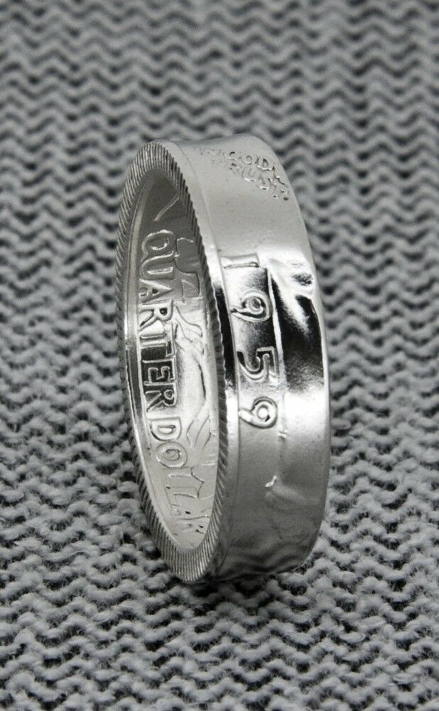 1950 1959 90 Silver Proof Us Quarter Coin Ring Wedding Band Birthday Gift Ebay