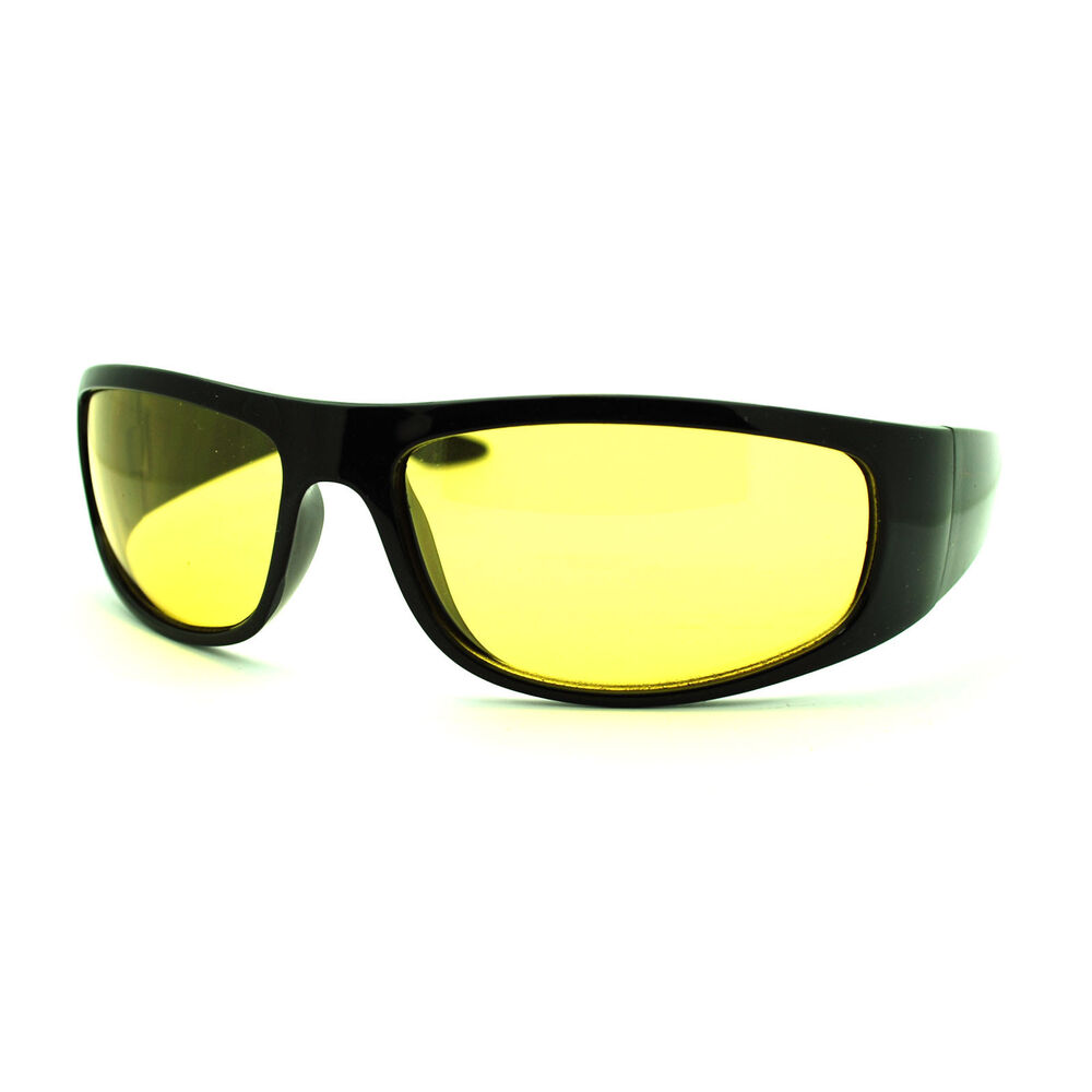 Mens Yellow Frame Sunglasses : Mens Night Vision Yellow Lens Classic Thick Biker Warp ...