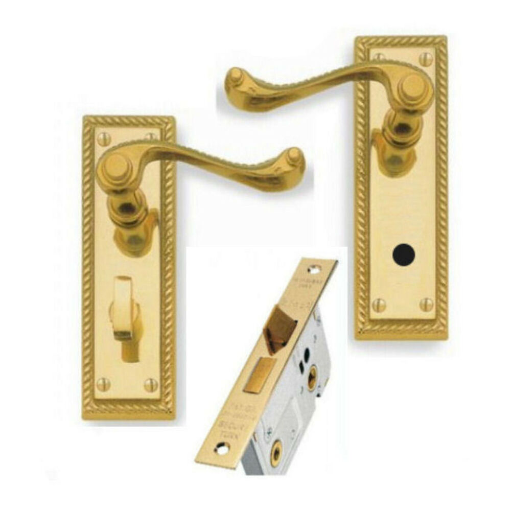 Georgian Brass Lever Bathroom Door Handle Set 76mm 3