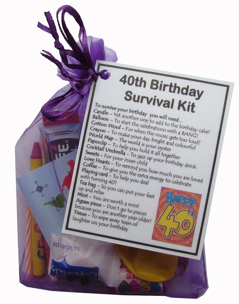 Unique Novelty Survival Kit: 40th, 50th, 60th, 65th, 70th, 80th Birthday Survival Kit