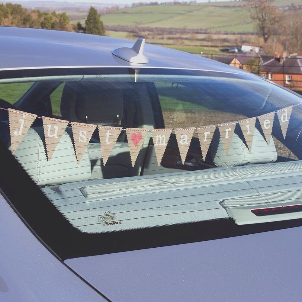 Wedding car decoration just married car bunting ebay for Advanced molding and decoration s a de c v