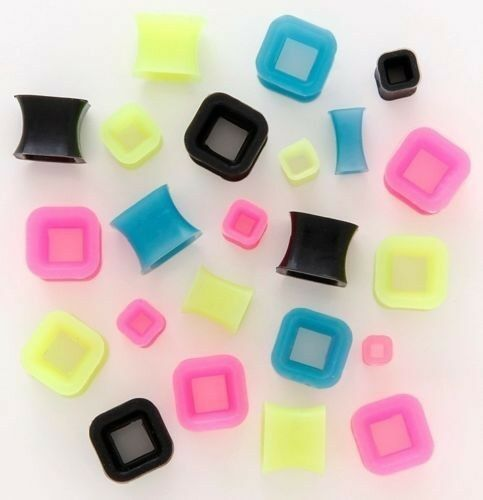 Pair square flexi silicone tunnels ear plugs gauges pick