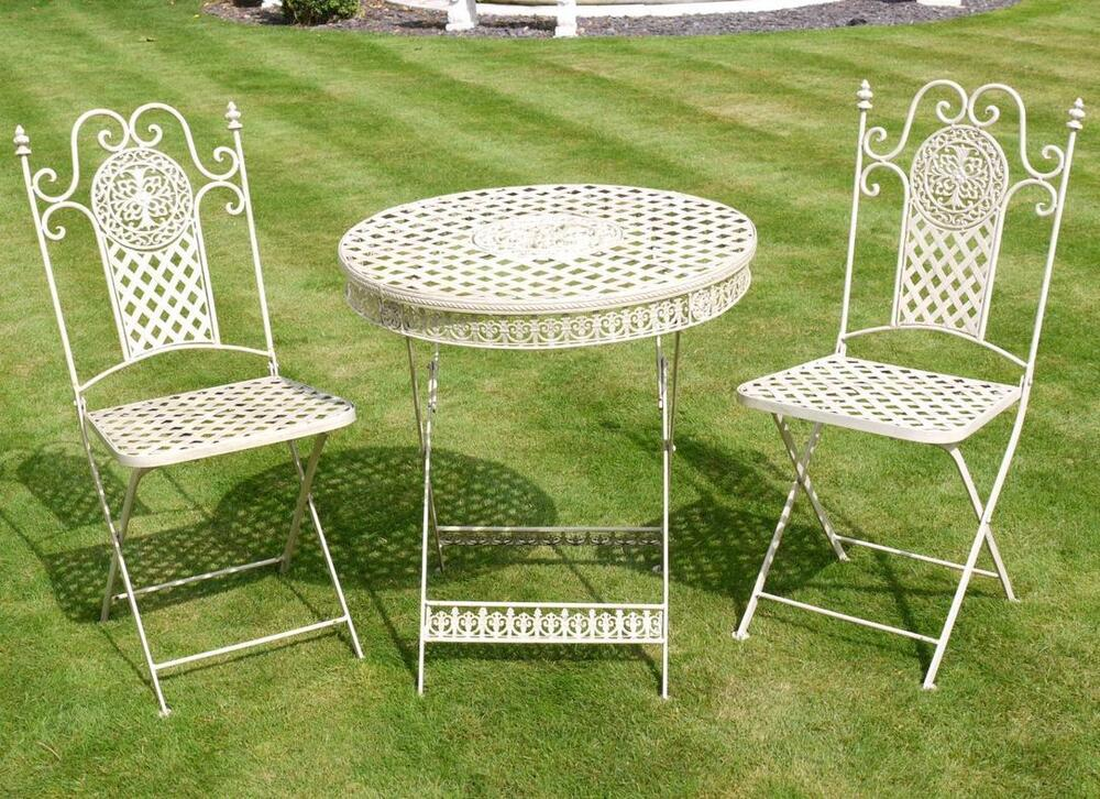 Metal Cream Garden Furniture T42 Folding Patio Set Outdoor Garden Furniture 8
