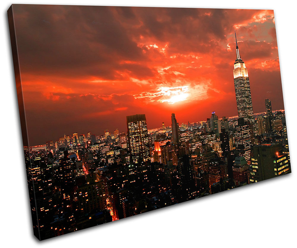 New York City Modern Canvas Painting Print Picture Home: New York NYC Skyline City SINGLE CANVAS WALL ART Picture