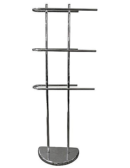 3 arm 3 tier free standing chrome towel holder rail rack stand weighted base ebay. Black Bedroom Furniture Sets. Home Design Ideas