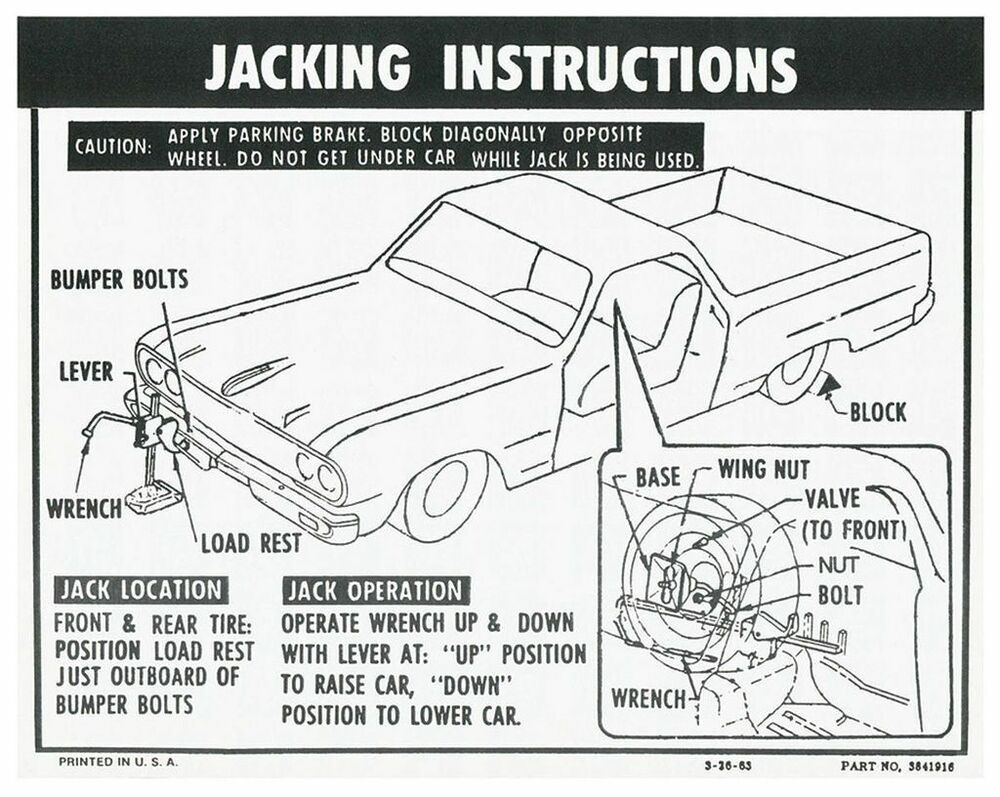 64 65 66 chevy el camino spare tire jacking instructions decal Car Tire Diagram 64 65 66 chevy el camino spare tire jacking instructions decal 1964 1965 1966 ebay