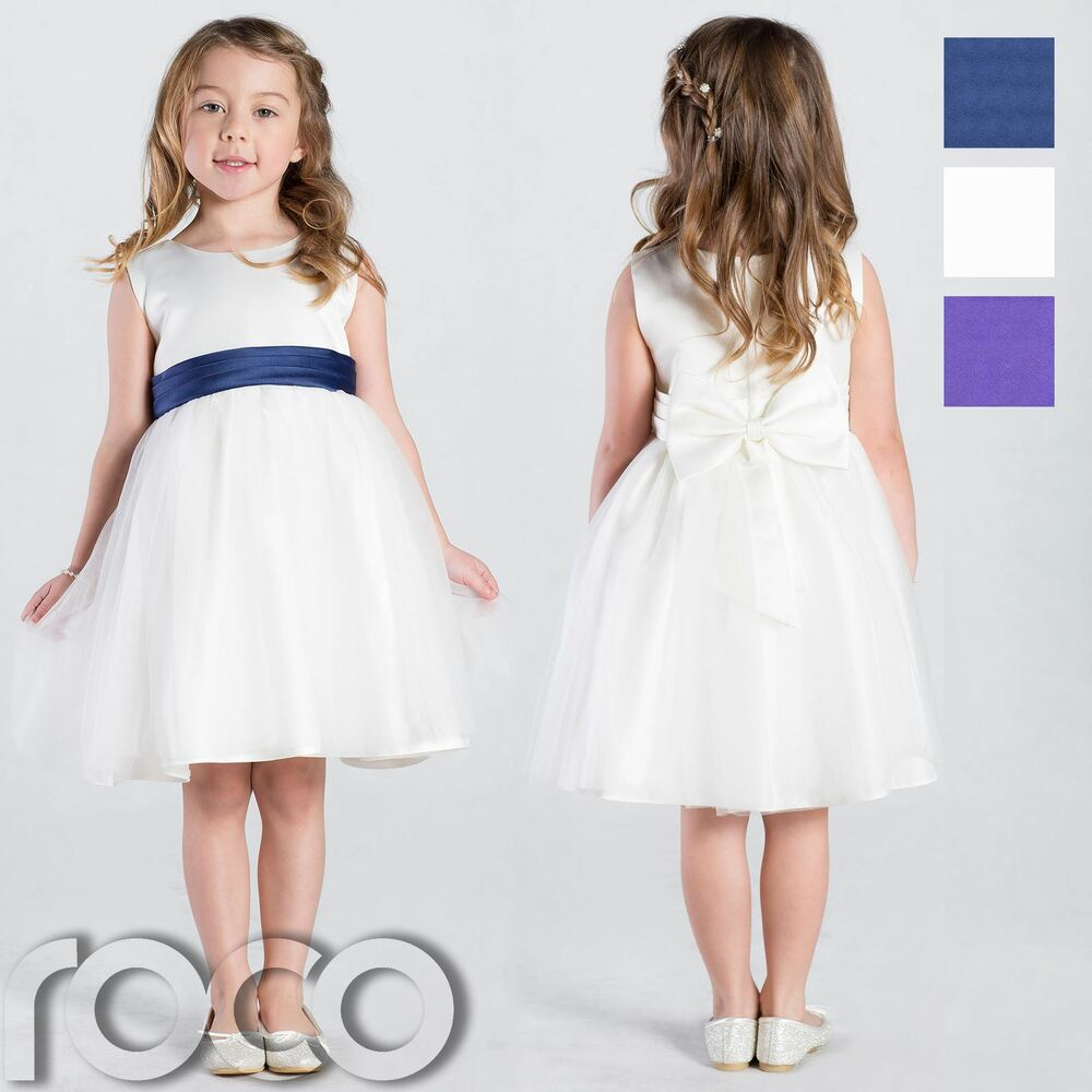 Ivory flower girl dress girls bridesmaid wedding party for Ebay wedding bridesmaid dresses