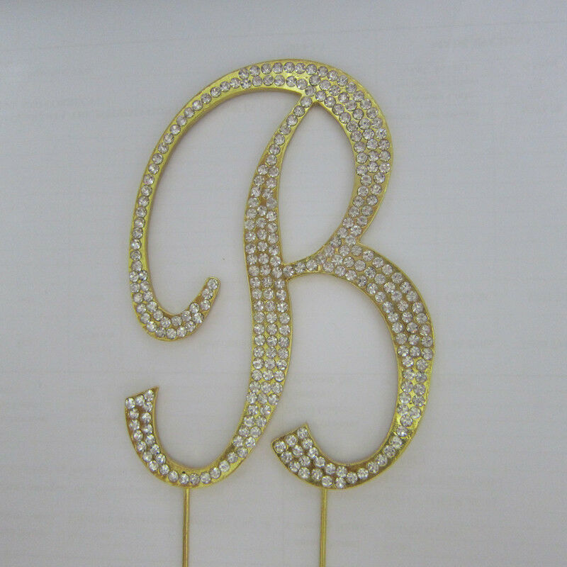 gold bling wedding cake topper rhinestone gold covered monogram letter initial 14748