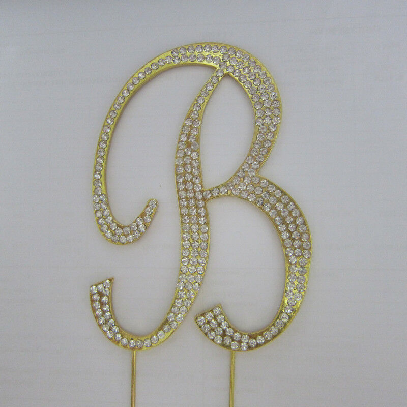 wedding cake toppers letters rhinestone gold covered monogram letter initial 26517