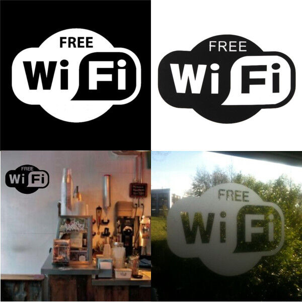Free Wifi Sign Decal Sticker For Shop Office Cafe Bar Pub