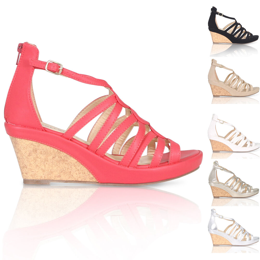 new womens cork wedge peep toe sandals mid