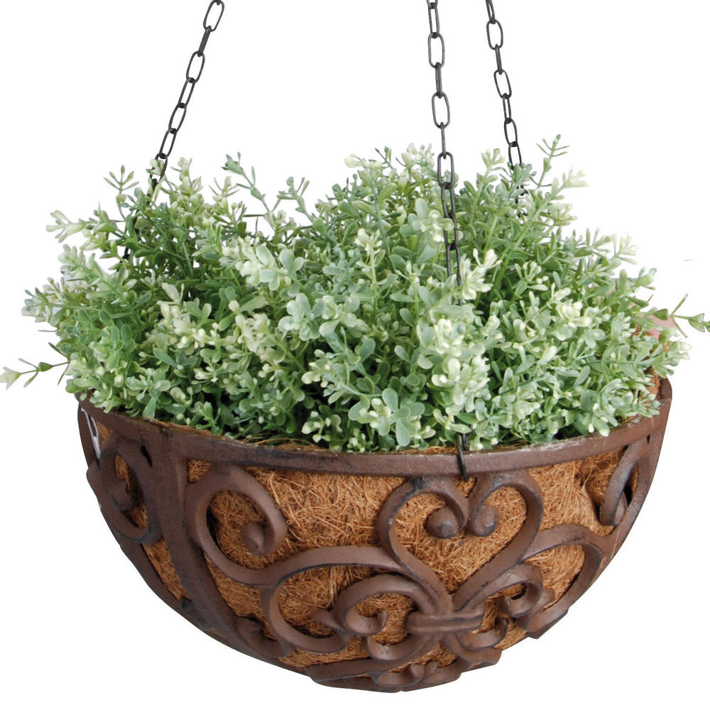 hanging basket gusseisen 30 cm grosse blumenampel pflanzschale h ngekorb ebay. Black Bedroom Furniture Sets. Home Design Ideas