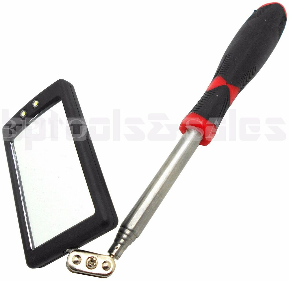 Led Lighted Inspection Mirror Telescoping Illuminate