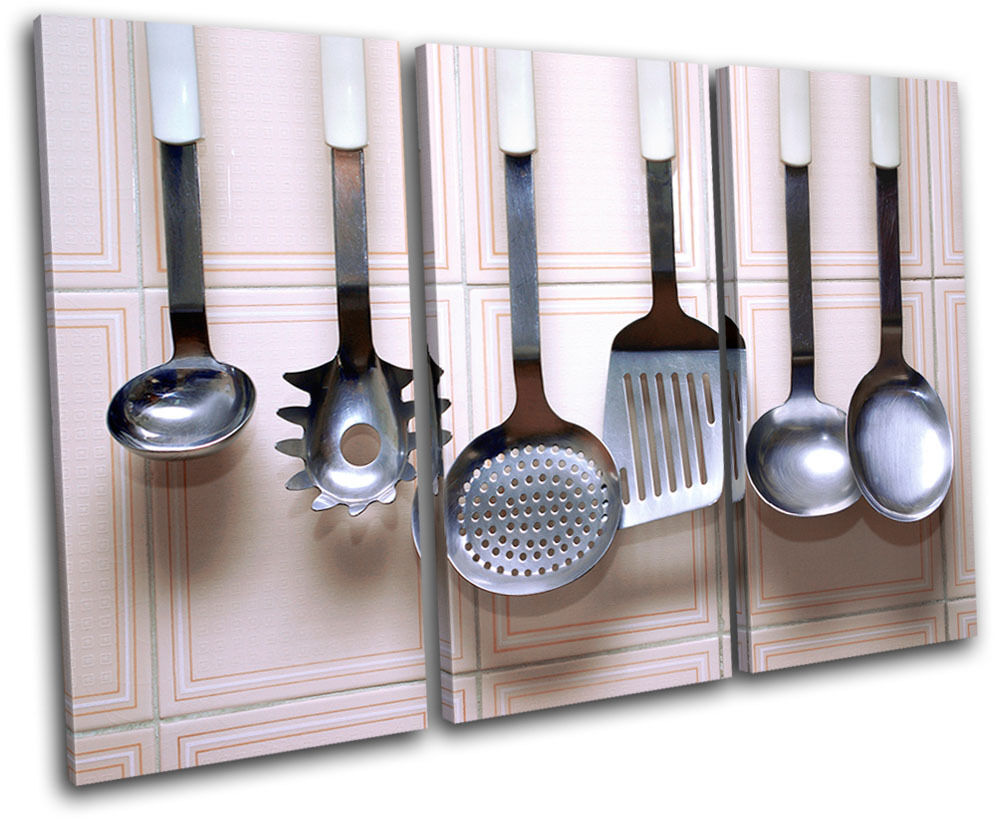 Utensils food kitchen treble canvas wall art picture print for Wall painting utensils