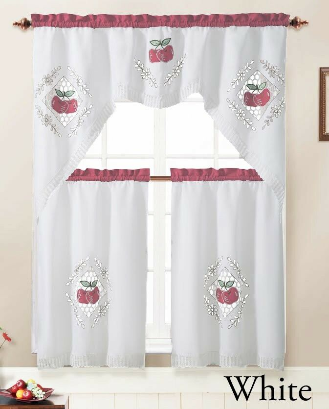 3 Piece Kitchen Window Curtain Set With Embroidered Apple