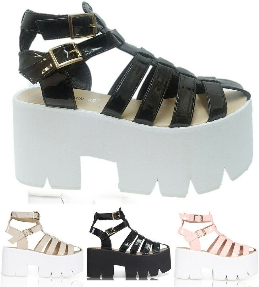 a2bc8303091 Details about WOMENS LADIES DOUBLE BUCKLE CLEATED SOLE HIGH HEEL CHUNKY  PLATFORM SANDALS SHOES