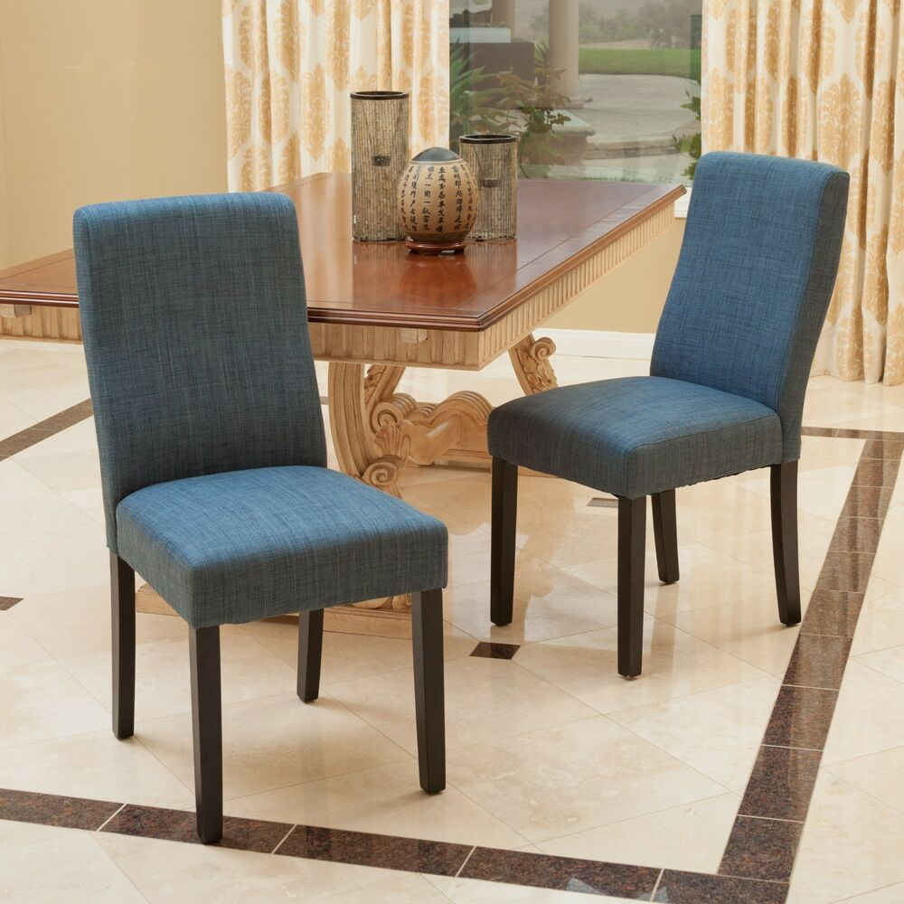 Cloth Dining Room Chairs: Set Of 2 Contemporary Indigo Blue Fabric Dining Chairs