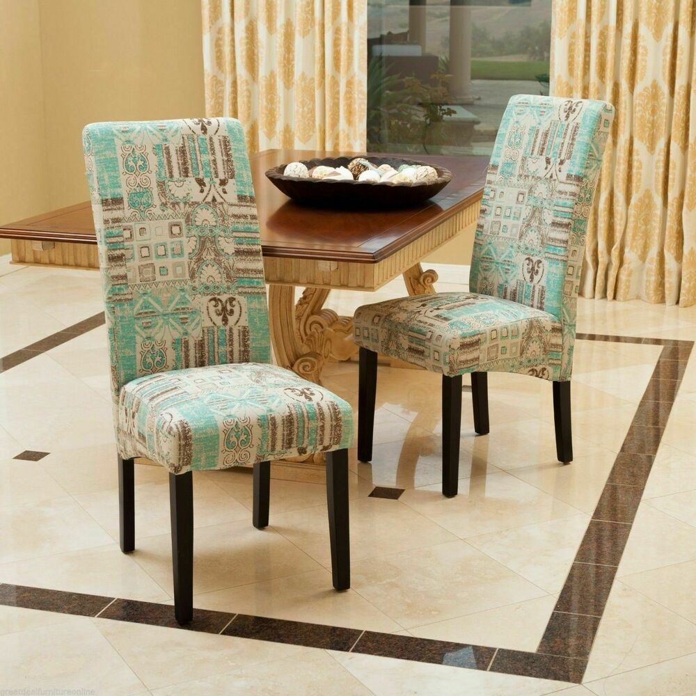 Teal Dining Room: Set Of 2 Modern Geometric Teal Fabric Dining Chairs