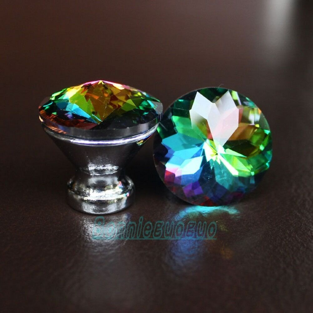 New crystal glass drawer knobs cabinet handle pulls multi for Colored glass cabinet knobs