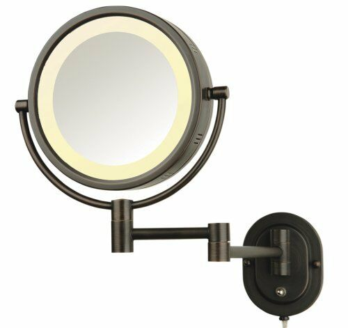 "Jerdon Eclipse 8"" Lighted Wall Mount Makup Shaving Mirror"