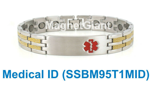 Medical Id Magnetic Silver And Gold Mens Stainless