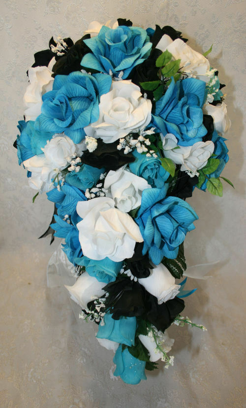 malibu turquoise black wedding bridal bouquet cascade silk rose wedding flower ebay. Black Bedroom Furniture Sets. Home Design Ideas