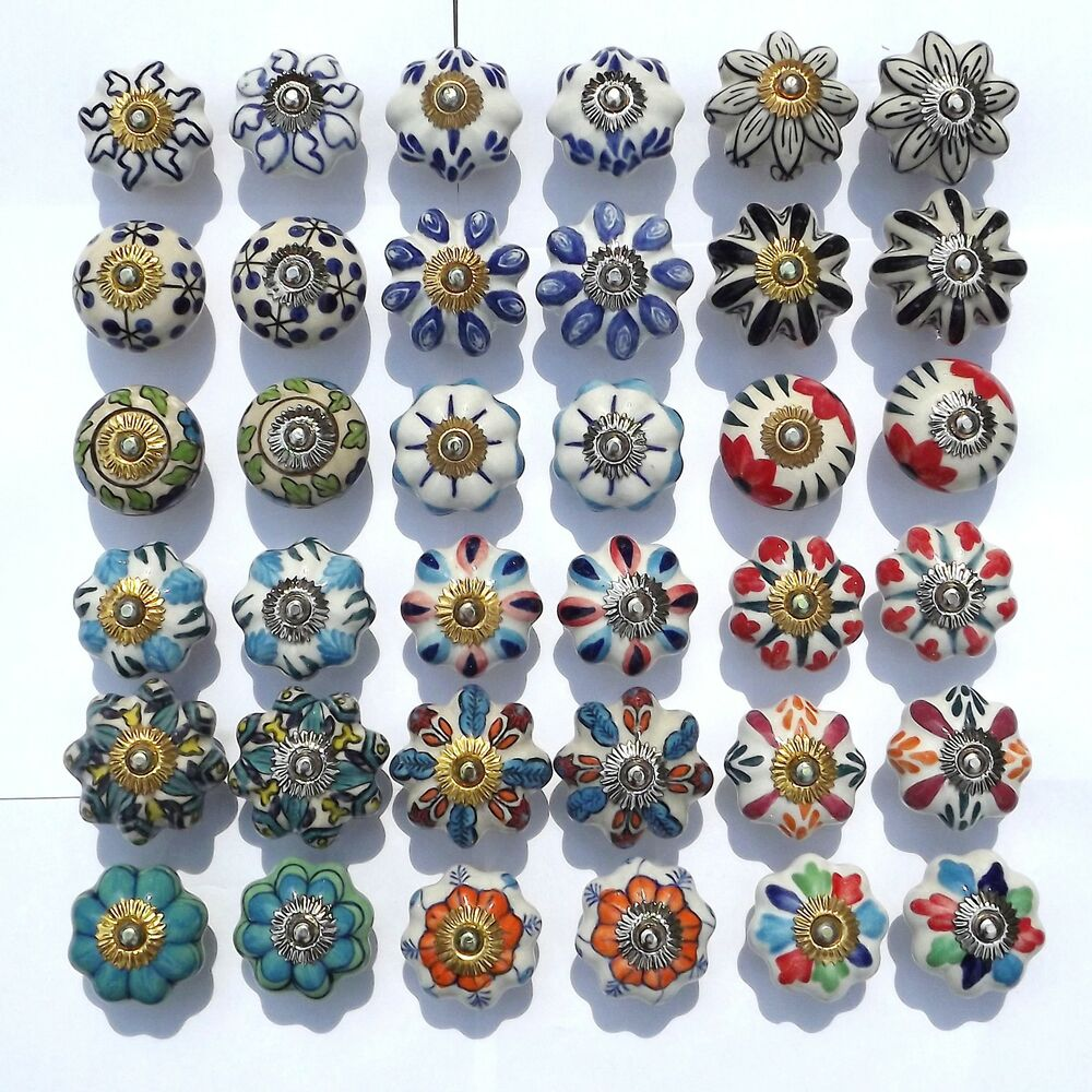 Ceramic Porcelain China Door Knobs Handles Drawer Cupboard