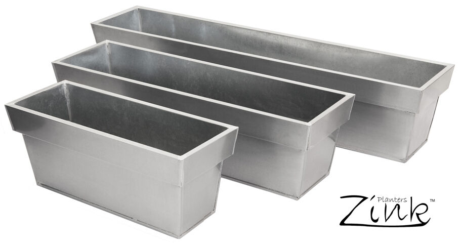 Silver Zinc Trough Planter Plant Pot Garden Patio Metal