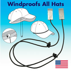 Capsurz Hat Retainer Chin Strap Clip On Hat Cord Motorcycles Boating Made in USA