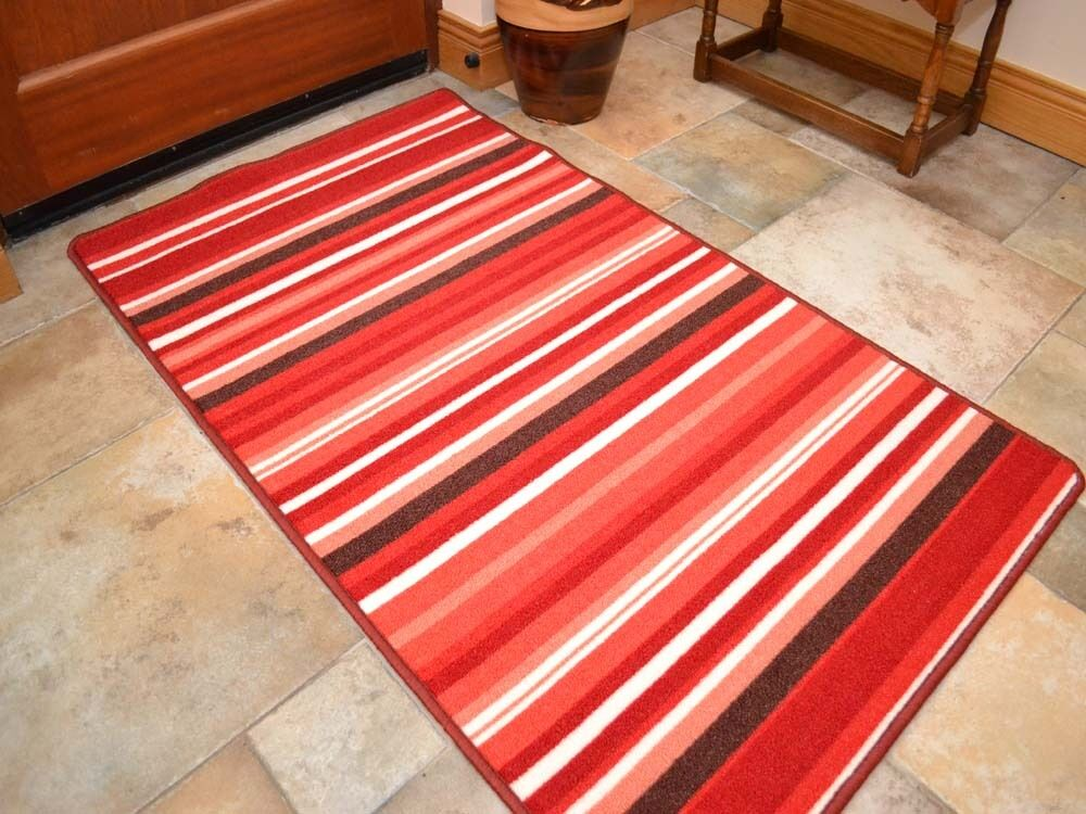 Small large red stripe long runner strong for kitchen for Small rugs for kitchen